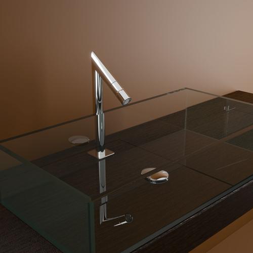 badkamer inspiratie modern: een watervalkraan in de badkamer courant., Badkamer