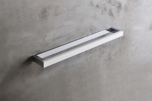 Solid Surface Handdoekhouder SolidChroom in mat wit/chroom