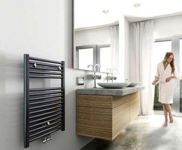 Designradiator Badkamer Zwart : Arcon elara black designradiator 76 x 60 cm in mat zwart