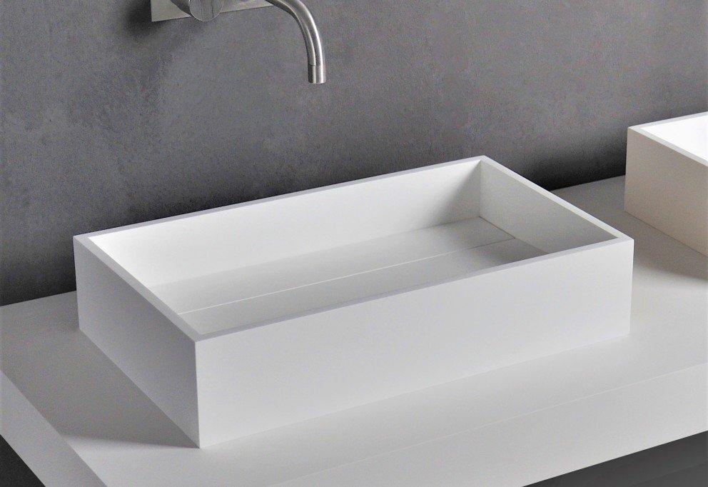 Wastafel 50 Cm : Solid surface vrijstaande wastafel barca b d cm in mat wit