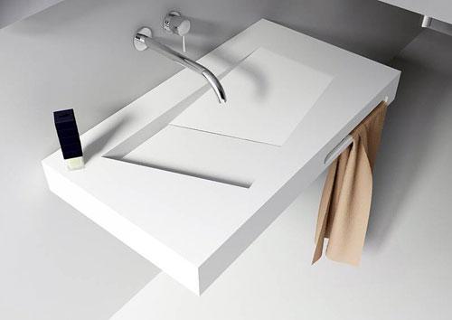 Solid surface sanso strakke wastafel met verborgen afvoer