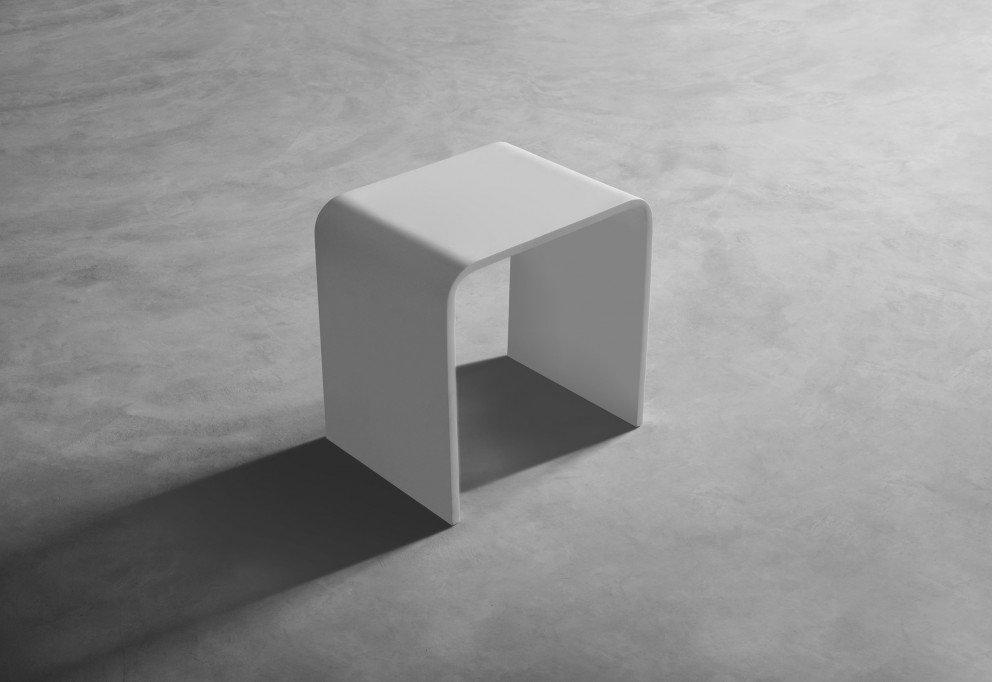 Solid Surface Badkamerkrukje B.40 x D.30 x H.43 cm in mat wit