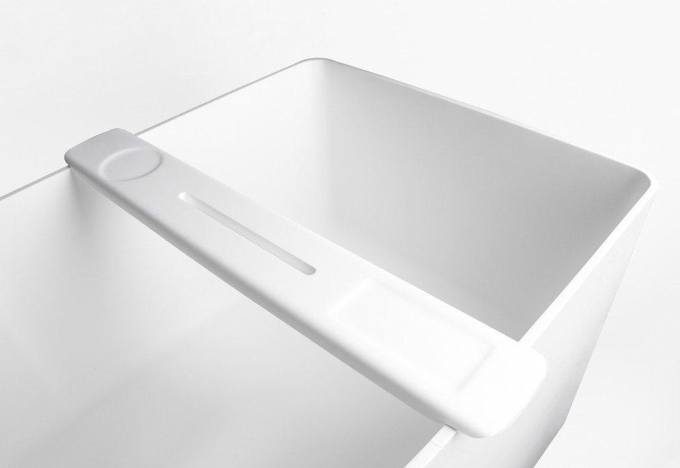 Solid Surface IPad houder voor bad in mat wit