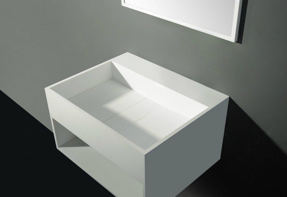 Solid Surface Wastafel : Solid surface wastafel san jordi ii b.60 x d.46 cm in mat wit