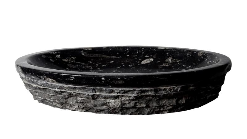 Moc natuursteen waskom ovale vorm met orthoceras fossielen