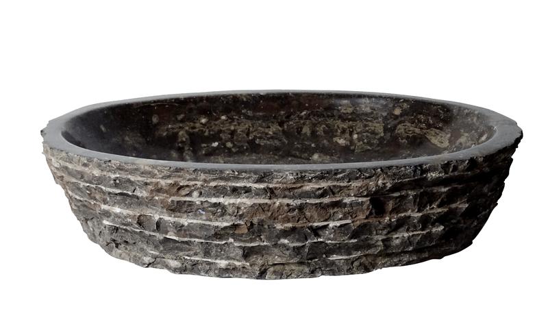 Moc natuursteen waskom uit marmer met orthoceras fossielen
